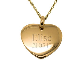 Necklace personalized heart domed plated gold