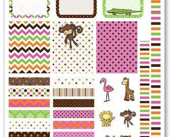 Baby Safari Decorating Kit / Weekly Spread Planner Stickers for Erin Condren Planner, Filofax, Plum Paper