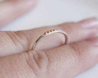 Silver and Rose Gold Ring / Dainty Silver Ring with Rose Gold / Stacking Ring/ Thin Ring/ Dotted Ring / Pink Gold with Silver /