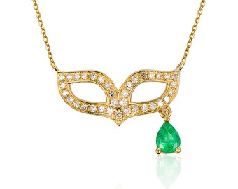 14K Yellow Gold Diamond Necklace, Diamond Emerald Mask Pendant Necklace