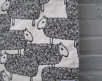 Organic Baby Blanket in Black and White Sheep - Modern Baby Blanket- Nursery Decor- Eco Friendly Baby, Kids