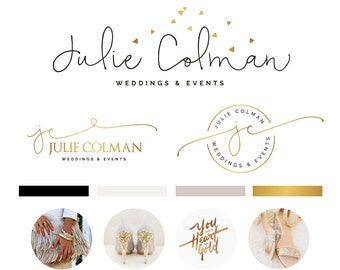 Branding Kit, Branding Package, Premade Logo, Watercolor Logo, Rose Gold Logo, Logo Design, Calligraphy Logo, Photography Logo, Wedding Logo
