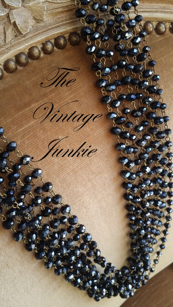 The Vintage Junkie...Long Layering Black Glass Beaded Necklaces
