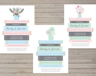 "Baby Book Shower Invitation -- Book Stack -- Baby Shower -- Pink, Green, Blue -- Custom 5x7"" Printable Invitation"