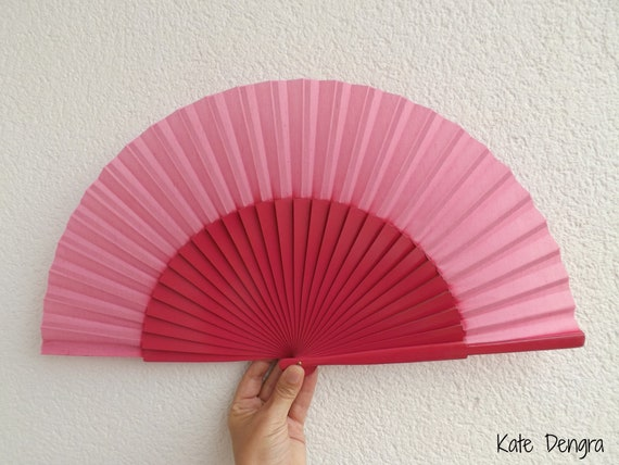 L Pink Plain Wooden Hand Fan Ready To Customize