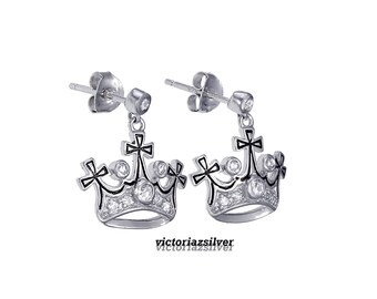 925 Sterling Silver Crown Earring,Pave Crown Earring,CZ Crown Earring,Tiara Earring,Tiara Princess Earring