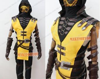 Men's MK 2 Kombat X Scorpion Cosplay Costume with mask