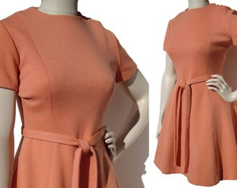 Vintage Chester Weinberg Dress Apricot Mod Mini M