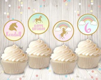 PERSONALIZED Printable Gold Glitter Unicorn Cupcake Toppers Sign / Birthday Party / Unicorn Collection / Item #3521