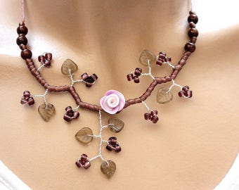 Necklace purple and Brown flower