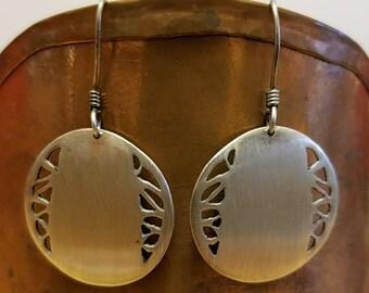 Vintage D. Stewart sterling silver cut out dangle earrings.