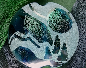 """Lampwork Focal Bead SRA """"Bold Landscape Window II"""" Handmade Faceted Sandblasted Faceted Dichroic Glass Bead with Iridescent Lustre Sea Tones"""