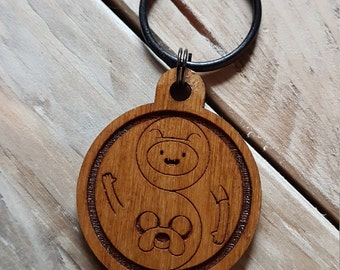Keyring - TV - Finn & Jake - Adventure Time. Gift for him and her. key ring fob