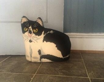 Tapisserie Vintage chat butoir de porte coussin décoratif noir et blanc chat arrêt de porte.