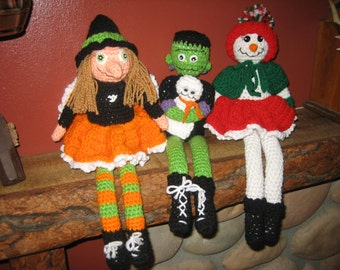 Tabatha Witch, Frank and Boo, and Frostine Crochet Set
