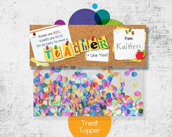 INSTANT DOWNLOAD -Digital File - Corkboard Teacher Treat Bag Topper- Printable