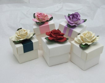 10 Vintage Chic Rose Ready Made Favour Boxes with Fillings