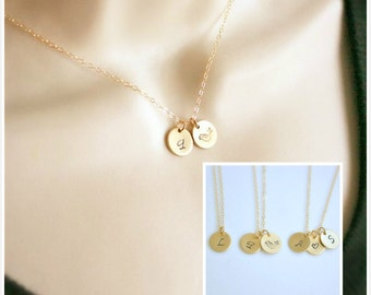 Personalized Necklace, Gold Filled Initial Disc Necklace, Dainty Charm Necklace, Monogram Letter Necklace, Bridesmaids Gift, Gold filled