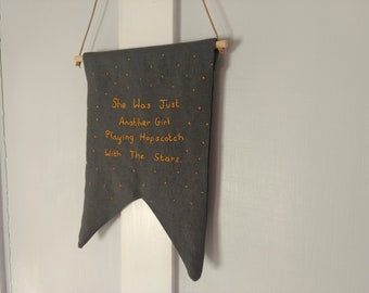 She was just another girl.... hand embroidered penant
