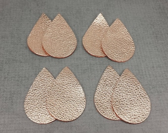 Rose Gold Leather Teardrops, 4 Pairs of Tear Drop Shaped Leather Pieces, 8 pc set, Rosegold Tear Drop Die Cuts, Leather Shapes for Earrings