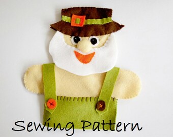 Old McDonald- PDF sewing pattern , Hand Puppet, How to make FELT Puppet Old McDonald  ,Nursery rhyme ,instant download