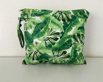 Palm leaf wet bag, baby bag, beach bag, diaper bag, large baby bag, large wet bag, tropical bag, nappy wet bag