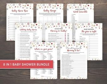 Winter Baby Shower Games Bundle, Package Deal, Printable Baby Shower Games Bundle, Mommy or Daddy, Who Knows Mommy Best, Baby Bingo, BG05