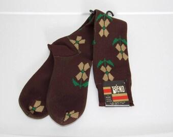 Women's Flower Socks / Brown Stretch Nylon w/ Beige & Green Floral Print / New Old Stock / Vintage Deadstock Hosiery