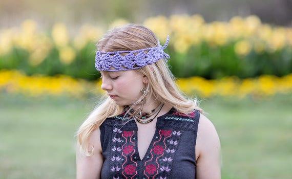 Cotton Headband, Crochet Hair Wrap, Boho Hair Wrap, Yoga Hair Wrap, Purple Cotton Band, Comfortable Hairband, Handmade Hair Wrap, Bun Wrap