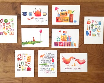 Pack of 8 illustrated greetings cards. Pick 'n' mix card set, thank you, birthday, children's, new home, blank gift cards