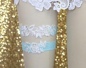 Wedding Garter Set,Ivory  Embroidery Flower with Light Blue Lace Wedding Garter Set, Ivory Garter Set, Toss Garter, Something Blue / GT-34A