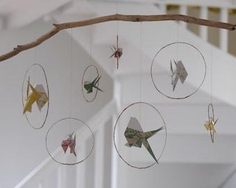 Spring origami mobile