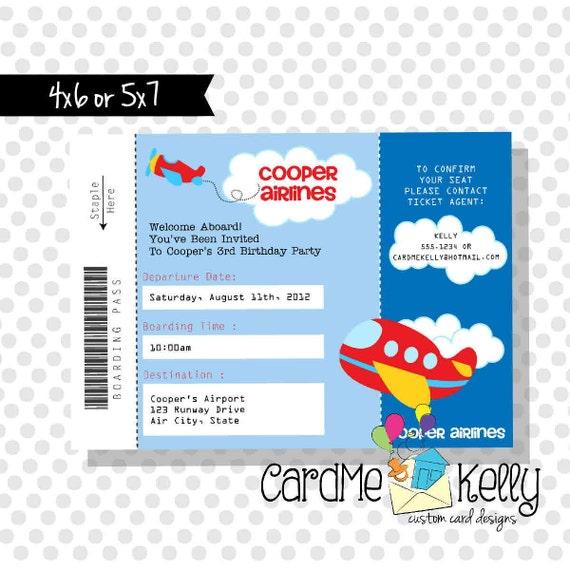 Invitación del cumpleaños imprimibles avión billete archivo