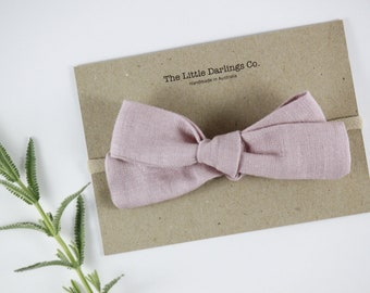 Hand Tied Hair Bow 100% Linen Large Schoolgirl in Dusty Pink // Clip or Band
