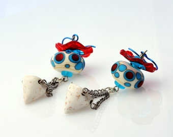 Red, Teal and White Lampwork Earrings - My Circus - Bold Dangle Earrings