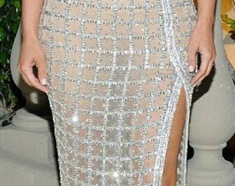 Rhinestone Panel / rhinestone fabric , 40 inches long and 15 inches wide DIY Skirt /Swarovski shine