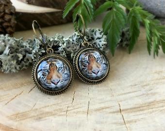 Tiger Earrings, Antique Bronze Earrings, Glass Dome Earrings, Dangle Earrings, Animal Jewelry