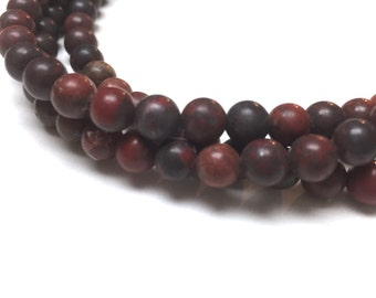 Brecciated Jasper Round Beads. Matte Finish. Opaque. Dark Red. Gemstone Beads. Center Drilled. 6mm. Full 15-16 Inch Strand.