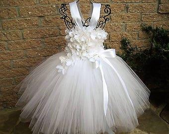 WHITE FLOWERS TUTU, White Tutu Dress, Flower Girl Gown, Pageant Girl Dress, Christening Gown, Baptism Dress, First Birthday Tutu, Weddings