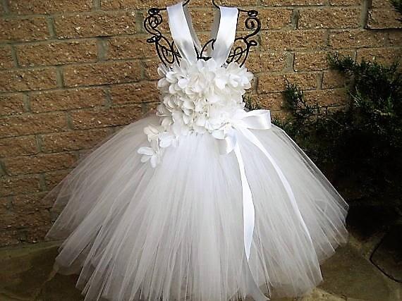 White flowers tutu white tutu dress flower girl gown mightylinksfo Images