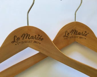 Hanger customized for your wedding - the bride - the Mary - sold individually - woodcut