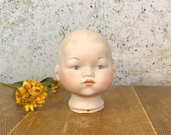 Vintage Porcelain DOLL HEAD Cecil- Doll Making Supply- Doll Parts- Bisque Doll Head- Grace Putnam Style- A49