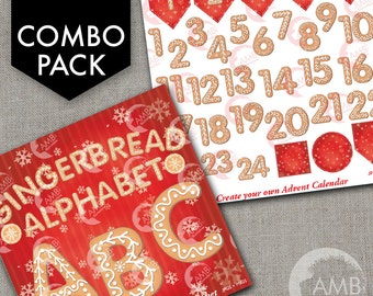 COMBO Christmas Gingerbread Letters and Numbers Clipart, Gingerbread Alphabet Clipart, Christmas Cookies, Commercial Use, AMB-1701
