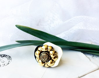 Adjustable ring, Vintage Button Ring, antique button ring, Upcycled rings, vintage jewelry, repurposed ring, mother's day gift. PaperartRoma