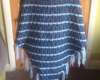 Hand knitted shawl/wrap in soft gentle gradient striping pattern, machine washable