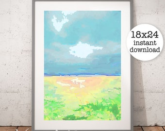 Beach Print, Ocean Art, Ocean Printable, Zen Printable, Coastal Wall Art, Blue Sky Art, Water Print, Home Decor, Digital Download