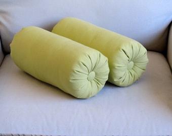 granny smith green cotton duck bolster pillows 14 x 6