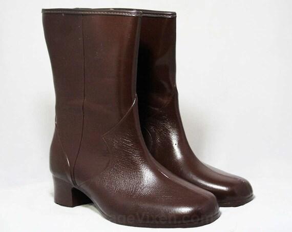 1950s Boots Fleece Winter Ankle 47864 NOS Inspired Deadstock Lined Waterproof 1 Size Wide Victorian Width Brown 6 Vinyl Boot SOwzE