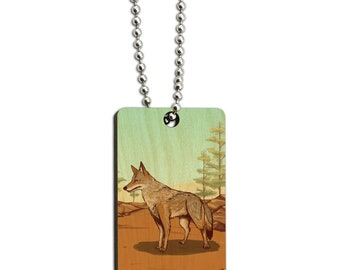 Coyote in the wild wood wooden rectangle keychain key ring