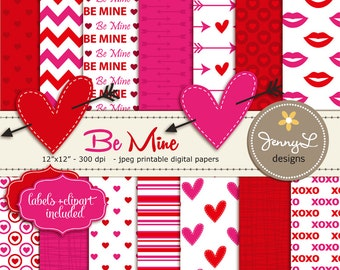 Valentine's Day Digital papers, Stitched Hearts with Arrow Clipart, Arrows, Be Mine Digital Scrapbooking Papers, Red and Hot Pink Fuchsia